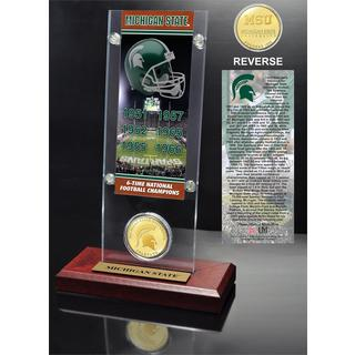 Michigan State University 6- time National Champions Ticket and Bronze Coin Desk Top Acrylic