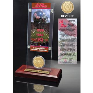 University of Mississippi 3-time National Champions Ticket and Bronze Coin Acrylic Desktop