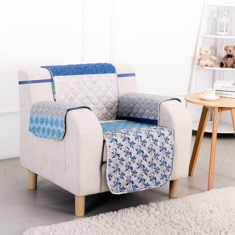 Slumber Shop Blue Stone Reversible Printed Chair Protector
