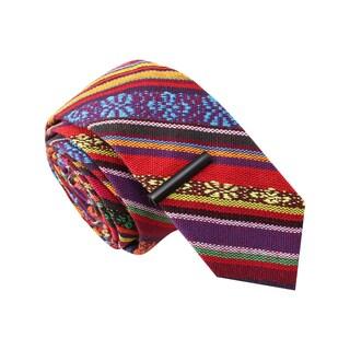 Skinny Tie Madness Men's ;The Jose Ole' Tribal Print Skinny Tie with Tie Clip