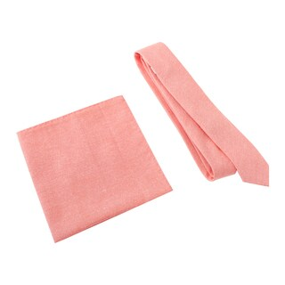 Skinny Tie Madness Men's Vice and Virtue Salmon Skinny Tie with Pocket Square
