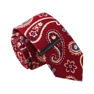 Skinny Tie Madness Men's 'Paisley Pays' Red Organic Cotton Tie with Tie Clip