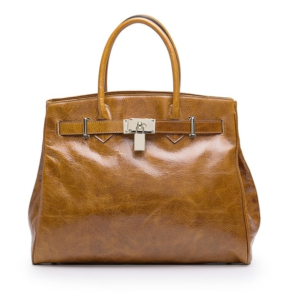 Vicenzo Leather Shelby Brown Distressed Leather Handbag
