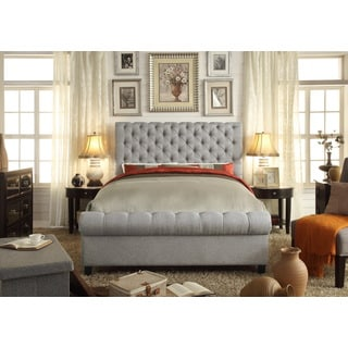 Moser Bay Furniture Calia Gray Tufted Upholstery Bed