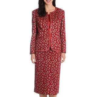 Giovanna Signature Women's Animal Pattern 3-piece Skirt Suit
