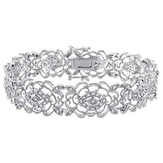 Miadora Signature Collection 10k White Gold 3/4ct TDW Diamond Milgrain Finish Flower Bracelet (G-H, I1-I2)