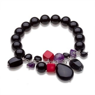 Sterling Silver Onyx and Gemstone Beaded Stretch Bracelet