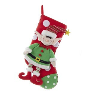 Kurt Adler 21-inch Fabric Christmas Elf Stocking