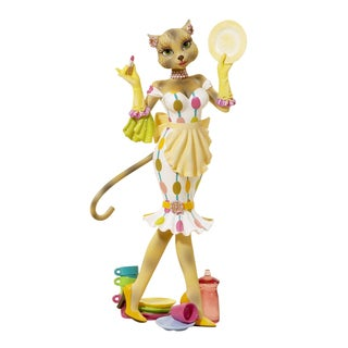 Kurt Adler 8 -inch Alley Cats Resin Kitty Diva Fashion Plate Tablepiece