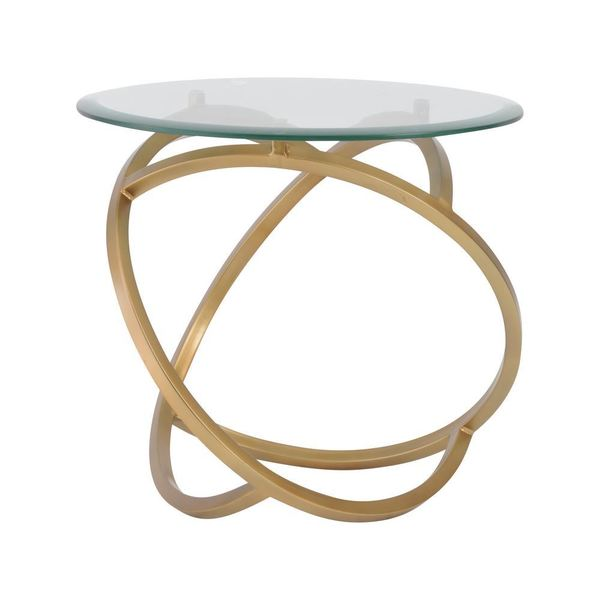 Modern Goldtone Metal Hoops Side Table with Glass Top