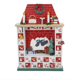 Kurt Adler 15-inch Wooden Chimney Christmas Advent Calendar with Ornaments