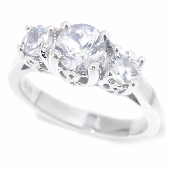 Shop Sterling Silver 3-stone Natural Zircon Engagement