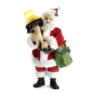 Kurt Adler 10-inch Leg Lamp Fabric Mache Santa with Light