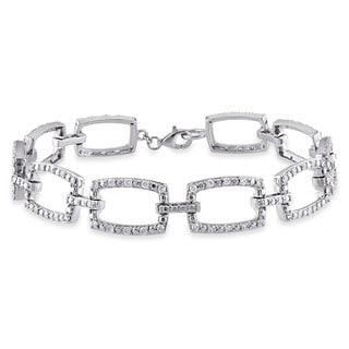 Miadora Signature Collection 10k White Gold 1ct TDW Rounded Rectangular Link Diamond Bracelet (G-H, I1-I2)