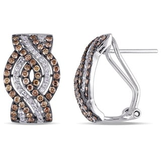 Miadora Signature Collection 14k White Gold 1ct TDW Brown and White Diamond Triple Row Twist Earrings