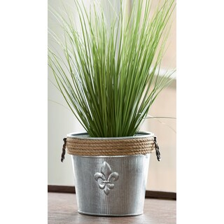 Jute Rope Wrapped Galvanized Fleur de Lis Bucket
