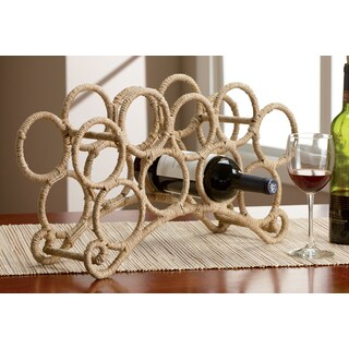 9 Bottle Jute Rope Wrapped Wine Rack