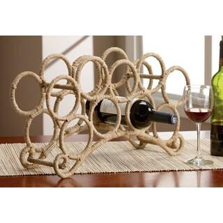 9 Bottle Jute Rope Wrapped Wine Rack