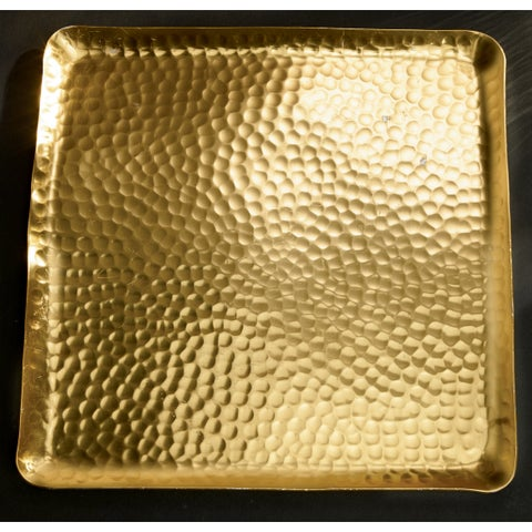 """12"""" Gilded Square Hammered Tray"""