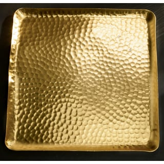 "12"" Gilded Square Hammered Tray"