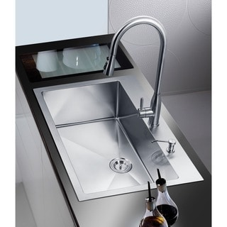 NationalWare 33-inch Satin Stainless Steel Overmount Single Bowl Kitchen Sink