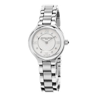 Frederique Constant Women's FC-200WHD1ER36B 'Delight' Cream Diamond Dial Stainless Steel Swiss Quartz Watch