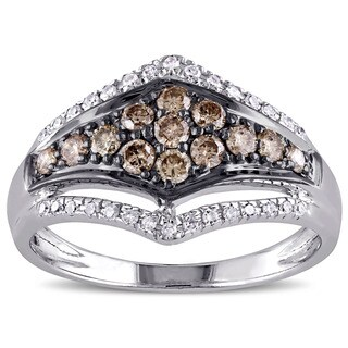 Miadora 14k White Gold 1/2ct TDW Brown and White Diamond Cluster Contour Ring