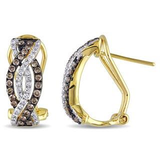 Miadora 14k Yellow Gold 1/2ct TDW Brown and White Diamond Infinity Earrings