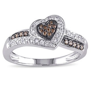 Miadora 14k White Gold 1/4ct TDW Brown and White Diamond Heart Ring