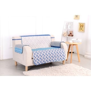 Slumber Shop Blue Stone Reversible Printed Love Seat Protector