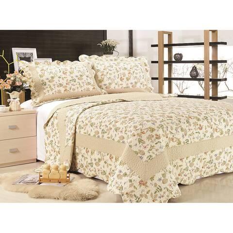 """Quilt Print """"Brooke"""" 100 Cotton 3-piece Quilt Set"""