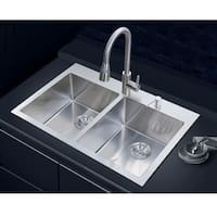NationalWare Overmount Stainless Steel 33 in. 2-Hole Double Bowl Kitchen Sink in Stainless Steel