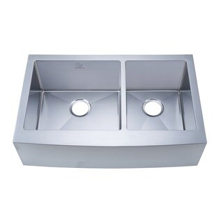 NationalWare Apron/Farmhouse Stainless Steel 33 in. Double Bowl Kitchen Sink in Stainless Steel