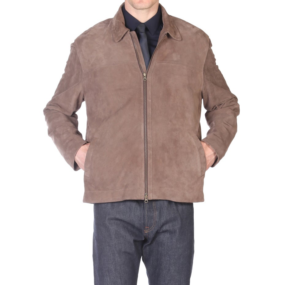 Tatto di Pelle Taupe Goatsuede Jacket (Taupe, XXL), Men's...