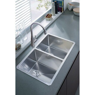 NationalWare Undermount Stainless Steel 33 in. Double Bowl Kitchen Sink in Stainless Steel
