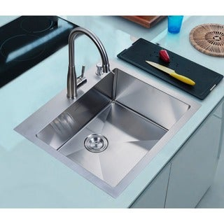 Nationalware 25 Inch Satin Stainless Steel Overmount Single Bowl Kitchen Sink