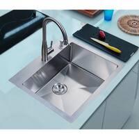 NationalWare 25-inch Satin Stainless Steel Overmount Single Bowl Kitchen Sink