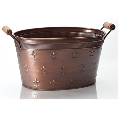 """Large 22"""" Copper Fleur de Lis Oval Tub - 22x12x10"""""""