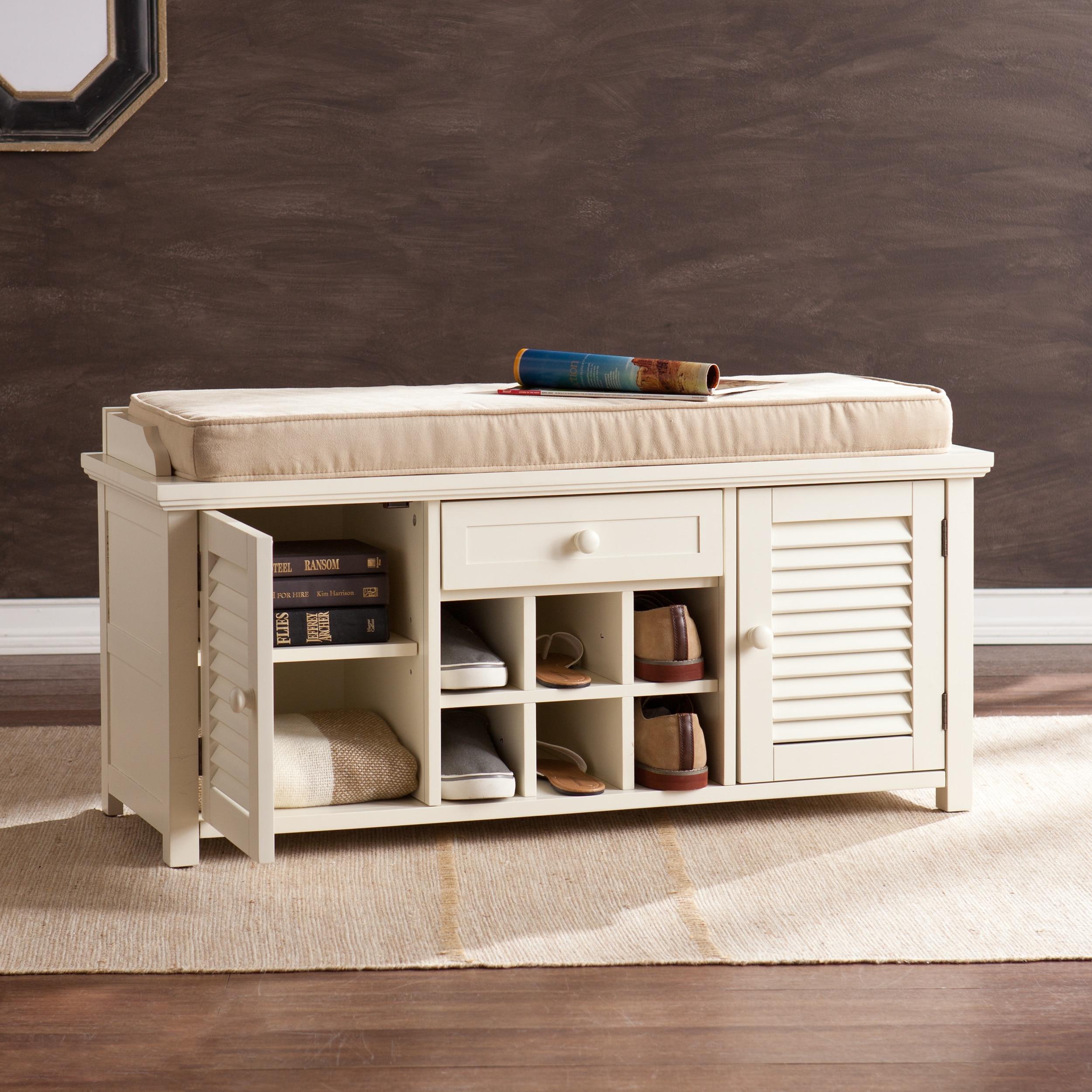 Aldon Antique White Shoe Storage Bench Overstock 10596618