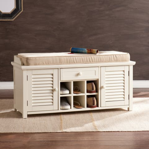 Aldon Antique White Shoe Storage Bench