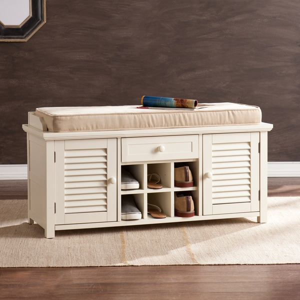Aldon Antique White Shoe Storage Bench