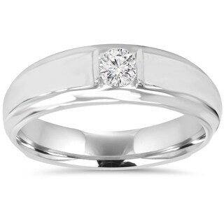 10K White Gold 1/ 6CT Mens Diamond Solitaire Ring