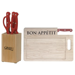 Ginsu Essential Series 7-Piece Red Stainless Steel Serrated Knife Set and Cutting Board Combo