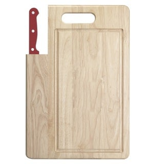Ginsu Essential Series 2-Piece Large  Cutting Board and Red Santoku Knife Set