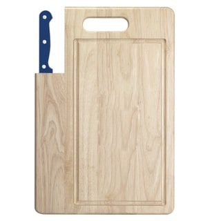 Ginsu Essential Series 2-Piece Large Cutting Board and Blue Santoku Knife Set