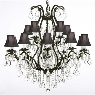 Wrought Iron and Crystal 15 Light Chandelier with Shades