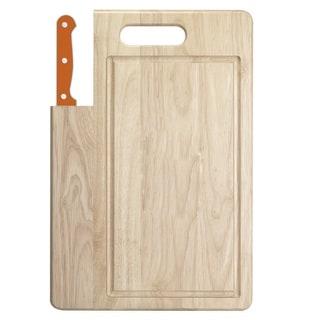 Ginsu Essential Series 2-Piece Large  Cutting Board and Orange Santoku Knife Set