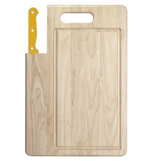 Ginsu Essential Series 2-Piece Large  Cutting Board and Yellow Santoku Knife Set
