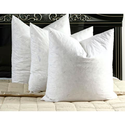 White Cotton Down and Feather Filled Square Euro Pillows (Set of 2)