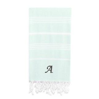 Authentic Pestemal Fouta Original Soft Aqua and White Striped Turkish Cotton Bath/Beach Towel with Monogram Initial